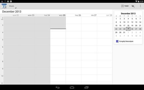 Calendar ของ Android UI อาศัยประโยชน์จากหน้าจอใหญ่บ้าง แต่ไม่ได้ประโยชน์มากนัก