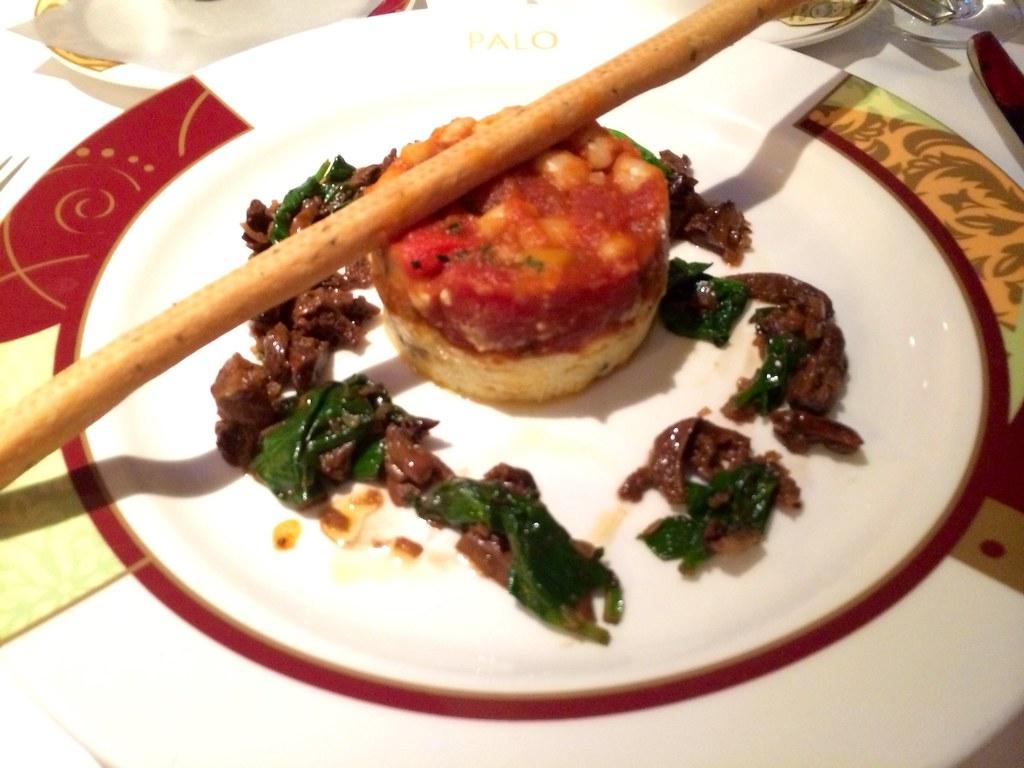 Tomato Borlotti Bean Sauce on a very convincingly cheesy polenta.