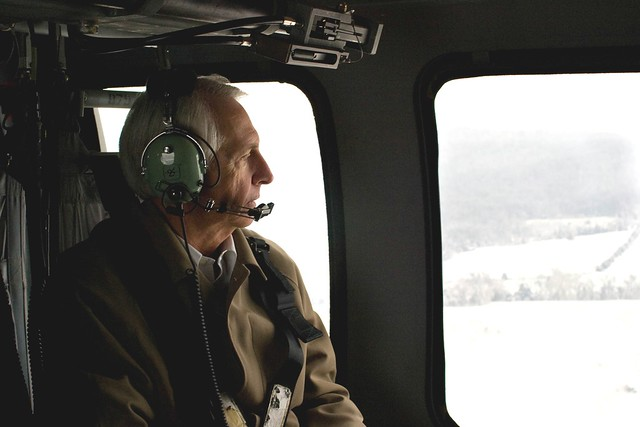 Kentucky Governor Steve Beshear views winter storm damage in rural Kentucky while en route to Louisville, KY to meet with Louisville Mayor Jerry Abramson.