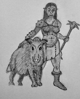 Boar with Orc Handler