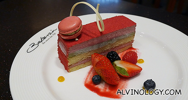 Riviera (S$8.80) - Genoise almond sponge layered with cherry mousse, iranian pistachio custard, red chocoate, topped with pistachio and cherry macaron and served with fresh seasonal berries, mango and raspberry sauces