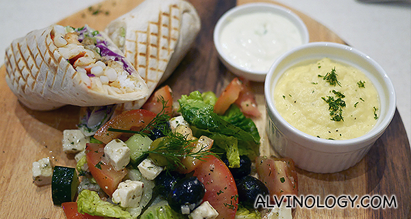 Poseidon's Wrap (Greek) - Prawn, fish, squid, tomato, lettuce, scramble egg, tzatziki greek salad (S$14.90)