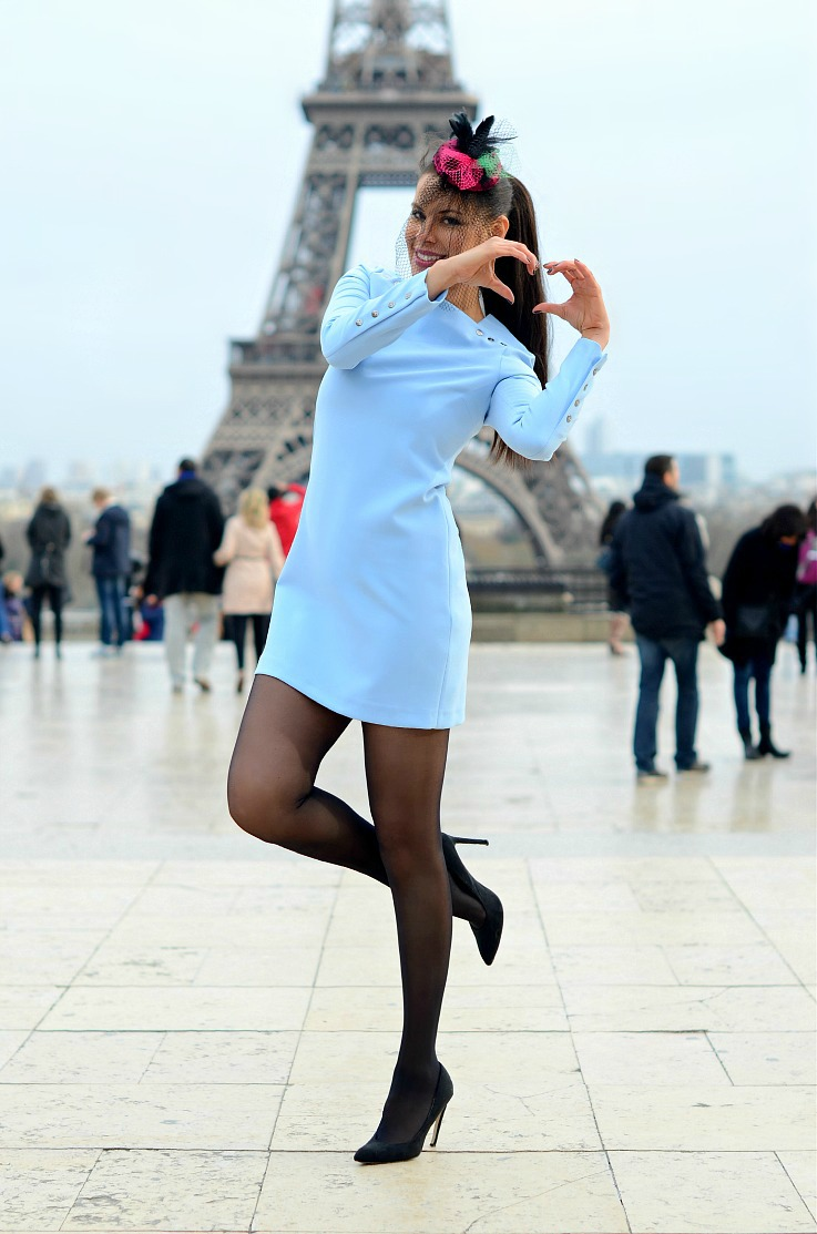 DSC_5984 Baby blue Zara dress, Paris, Eiffel tower