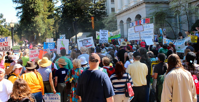anti-fracking protestors in Sacramento