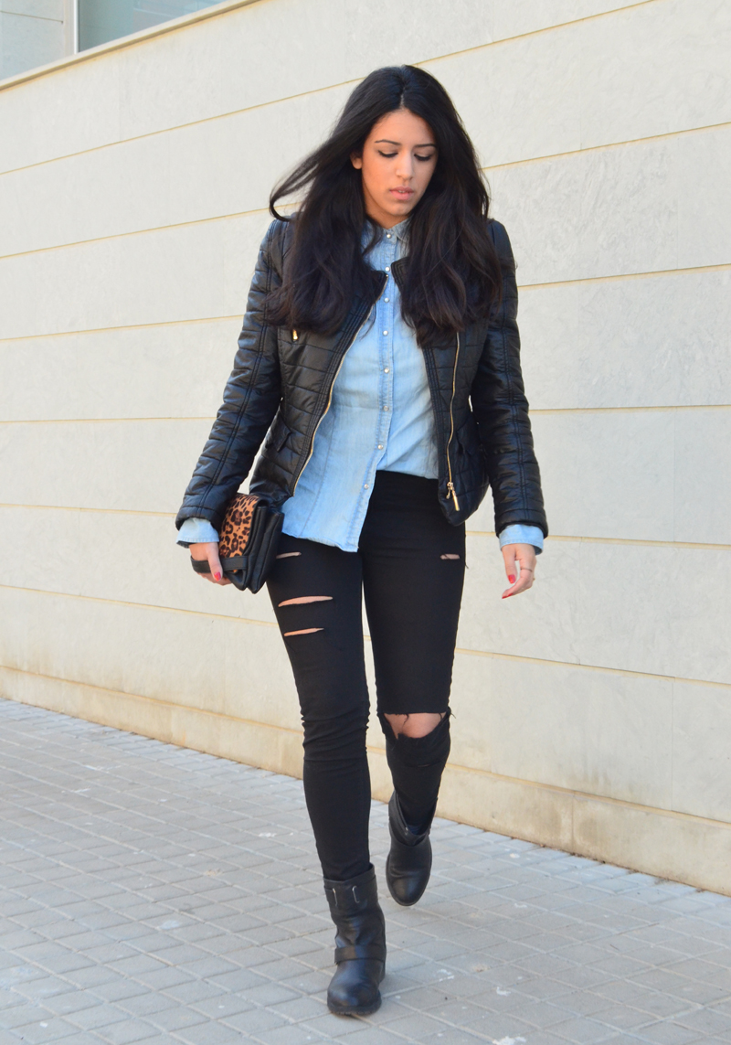 florenciablog look rocker broken jeans inspiration leopard clutch stradivarius how to wear broken jeans (5)