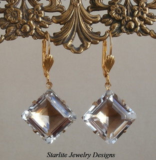 ROCK CRYSTAL ~ Rare Vintage Step Cut Square Drop Earrings ~ Authentic Pools of Light ~ Natural Rock Crystal Quartz Gemstone Earrings ~ Rock Crystal Quartz Earrings ~ ART DECO