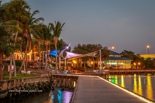 waterfront water river st lucieriver downton stuart florida landscape seascapecityscape lights reflection outdoors outside usa trees palms palm tree