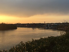 Potomac River, view to Georgetown at sunset from Kennedy Center terrace, Washington, D.C.