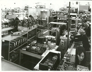 View of assembly room at Philips TV factory