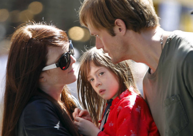 Julianne Moore, Onata Aprile and Alexander Skarsgård are a mix-and-match family in WHAT MAISIE KNEW.