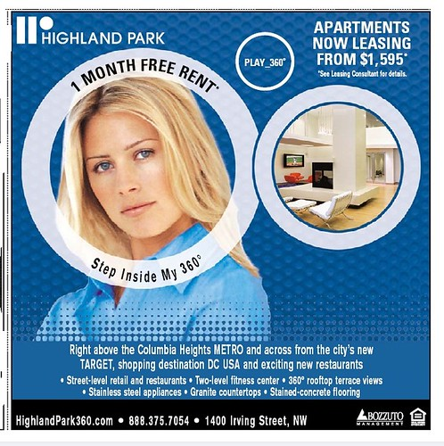 Highland Park Apartments ad, Columbia Heights, DC, Express Newspaper