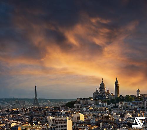 poza apus imagine Turnul Eiffel Paris / sunset version