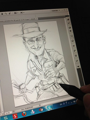Indiana Jones digital caricature for GIC - sketch