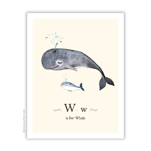 Whale . Cream background