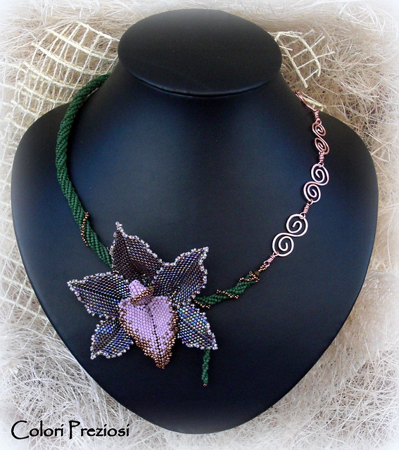Spring Time - beaded orchid