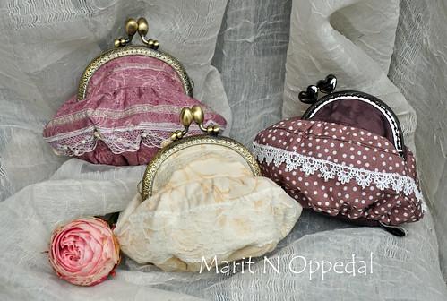 Små romantiske punger by Marits Kunstquilt