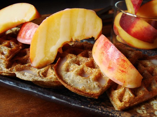 Buckwheat Waffles with Cardamom Cream Syrup & Peaches
