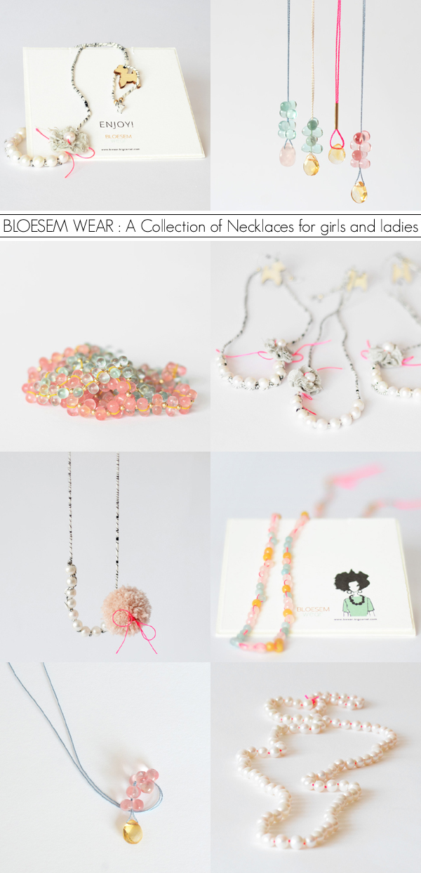 Playful summery jewellery by Irene Hoofs for Bloesem Wear - 'Bloesem Brings Gems and Pearls: A Collection of Necklaces for girls and ladies.' | Emma Lamb