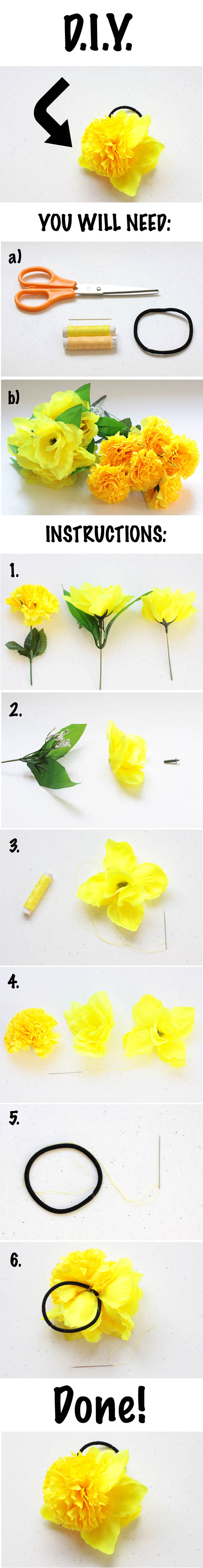 Diy fabric flower hair tie numbers