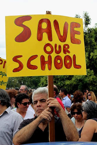 """Save Our School"" - Greek educators protest against further cuts in jobs and funding. Thessaloniki, Greece. by Teacher Dude's BBQ"