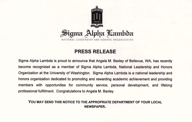 Sigma Alpha Lambda Press Release for Angela M. Baxley, September 2007