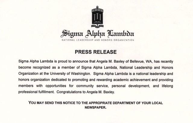 Sigma Alpha Lambda Press Release for Angela M. Baxley, September 2007