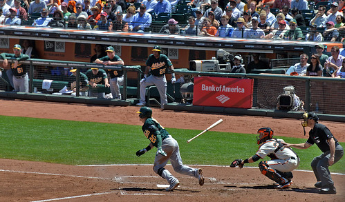Josh Donaldson of the Oakland Athletics (Buster Posey catching)
