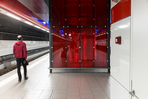This scene at the Brussels airport train station is all about the color. Shooting JPEG plus RAW meant I had the color data available to me even though I had the camera set to monochrome.