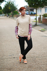 Casual autumn dressing: Taupe sweater, check shirt & black peg leg pants