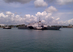 USS Freedom (LCS 1) departs Changi Naval Base, Nov. 16. (U.S. Navy photo by Lt. Cmdr. Justin Bummara)