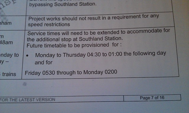 Southland station FOI: Early planning for 24-hour trains at weekends