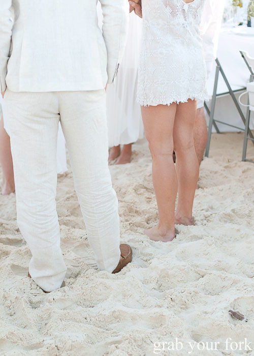 Barefoot in the sand at Diner en Blanc Sydney 2013 Bondi Beach
