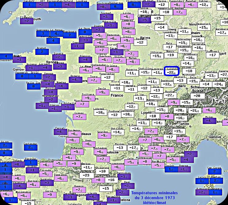 températures minimales glaciales et records mensuels de froid du 3 décembre 1973 météopassion