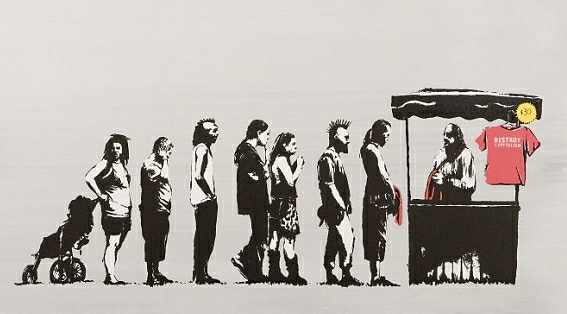 "Banksy's destroy capitalism print has a line of people lining up to buy a red shirt that says ""destroy capitalism"""