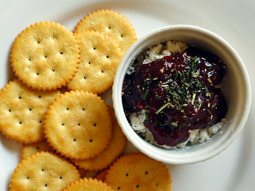 warm herb jam & goat cheese spread