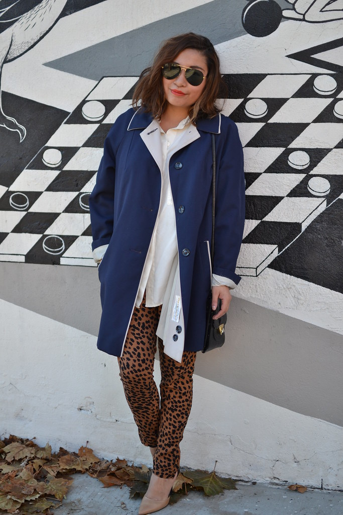 Spicy Candy DC, Leopard Print Trousers, Blue Trench Coat 029
