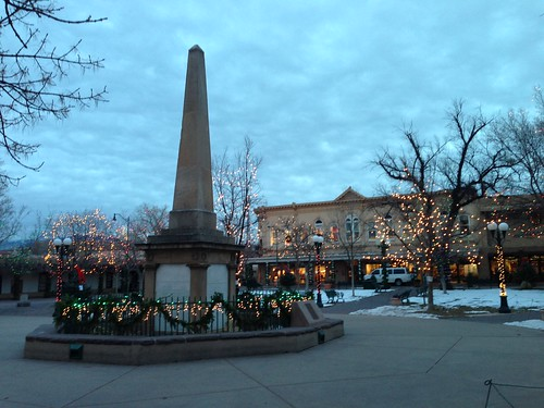 Santa Fe Plaza, with the American Indian War Memorial in the foreground