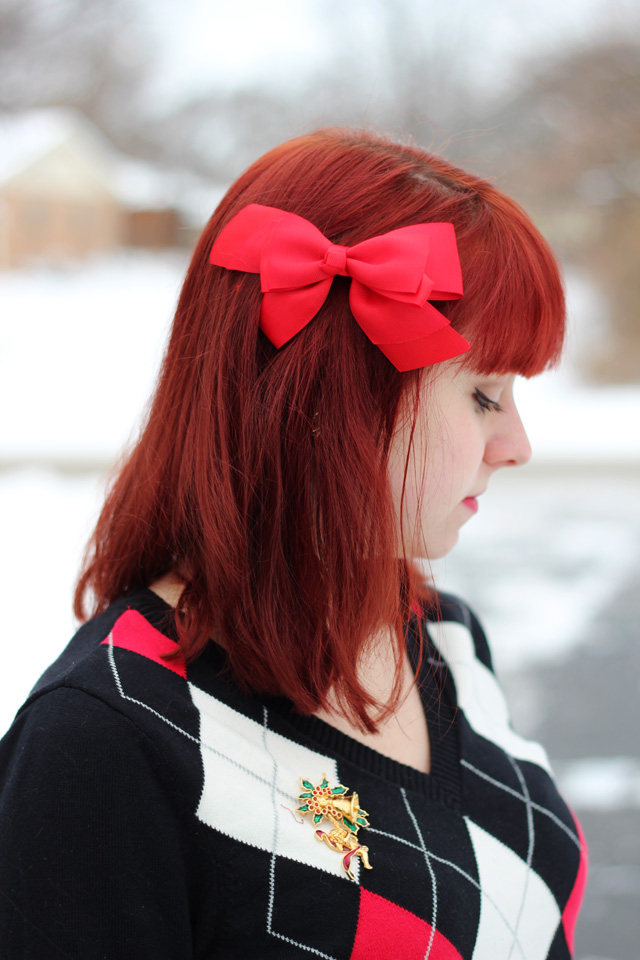 Big Red Bow, Red Hair, Argyle Sweater