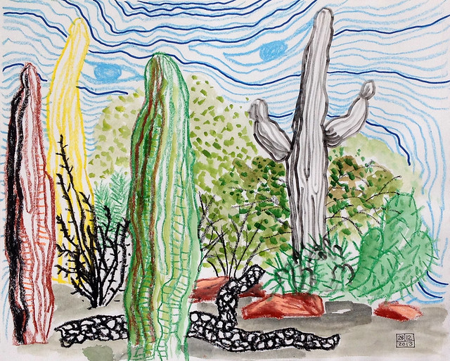 At the Tucson Botanical Gardens; oil pastel, marker, watercolour