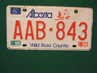 ALBERTA 1998-1999 ---HANDICAP LICENSE PLATE #AAB-843