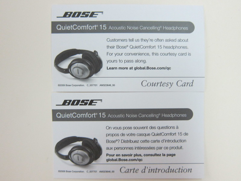 Bose QC15 - Courtesy Card