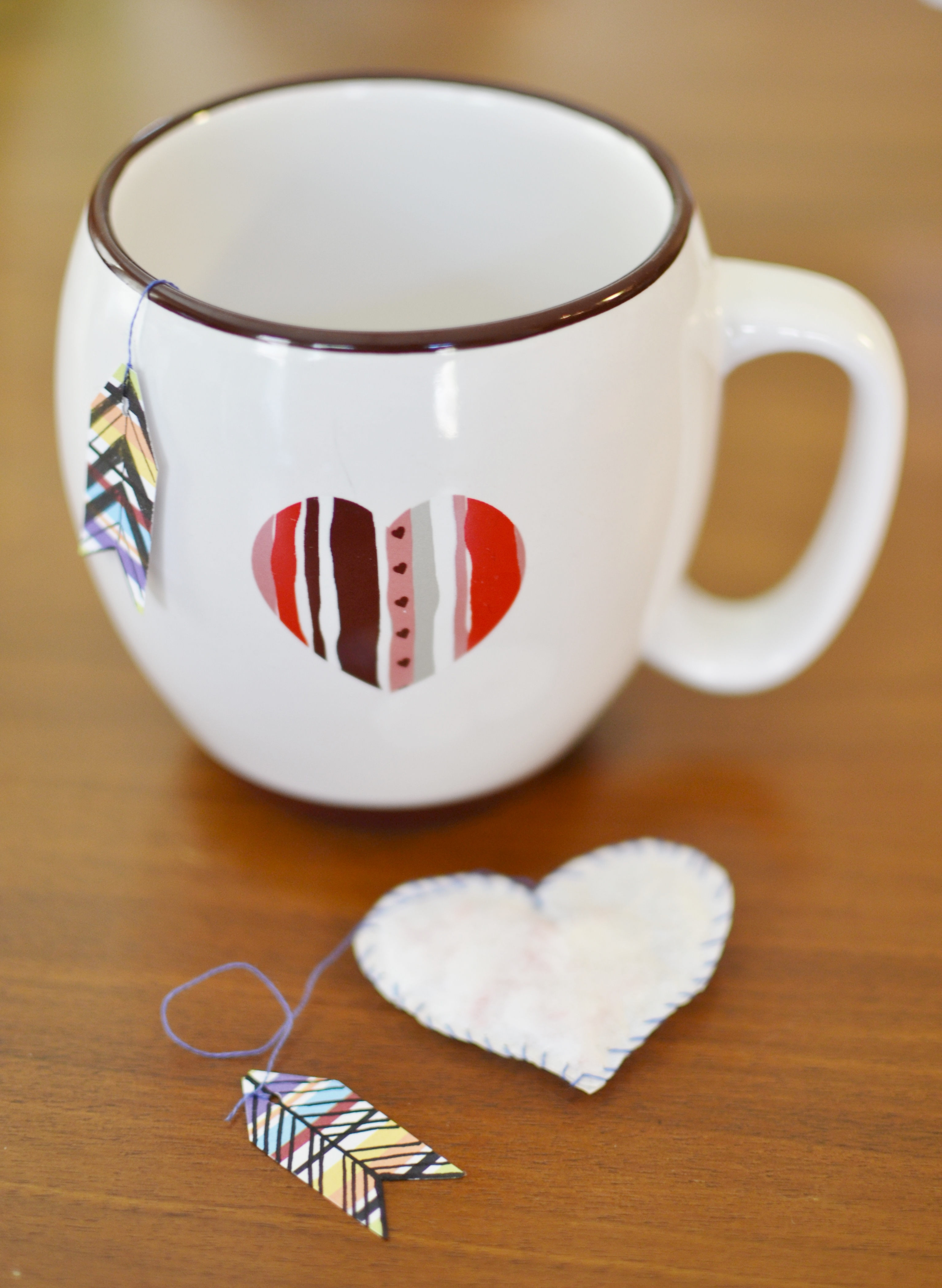 hand made heart tea bag and cup
