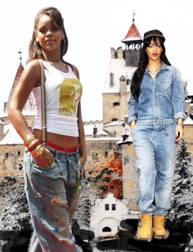Rihanna, baggy jeans, Dracula's castle