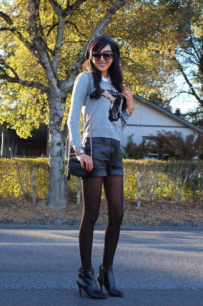 Leather Shorts, Sequin Beret 7
