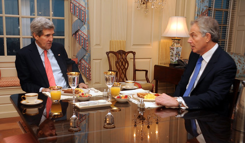 Secretary Kerry Holds Breakfast Meeting With Former British Prime Minister Blair