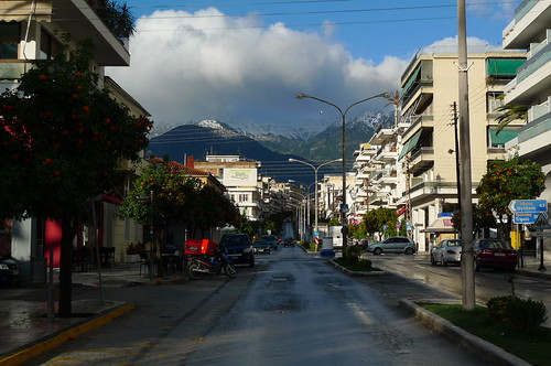 View West to the Snow-capped Mountains - Sparta, Greece