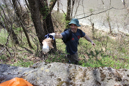 Friends of the Occoquan River Cleanup - Ryan Throws Trash Uphill