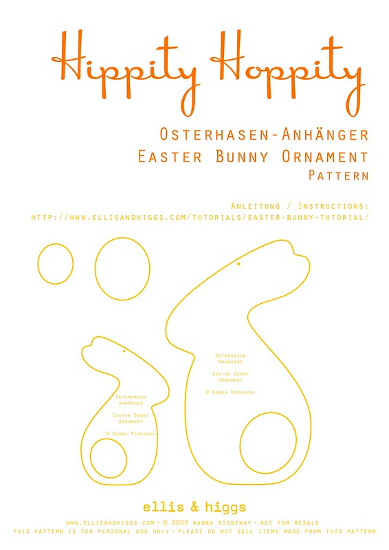 Osterhasen Anhänger aus Filz und Stoff Vorlage/ Felt and Fabric Easter Bunny Ornaments Pattern