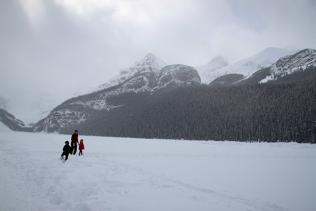 Walking on Lake Louise