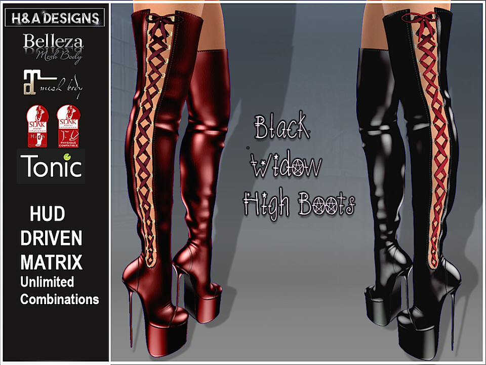 H&A Designs Black Widow High Boots - SecondLifeHub.com